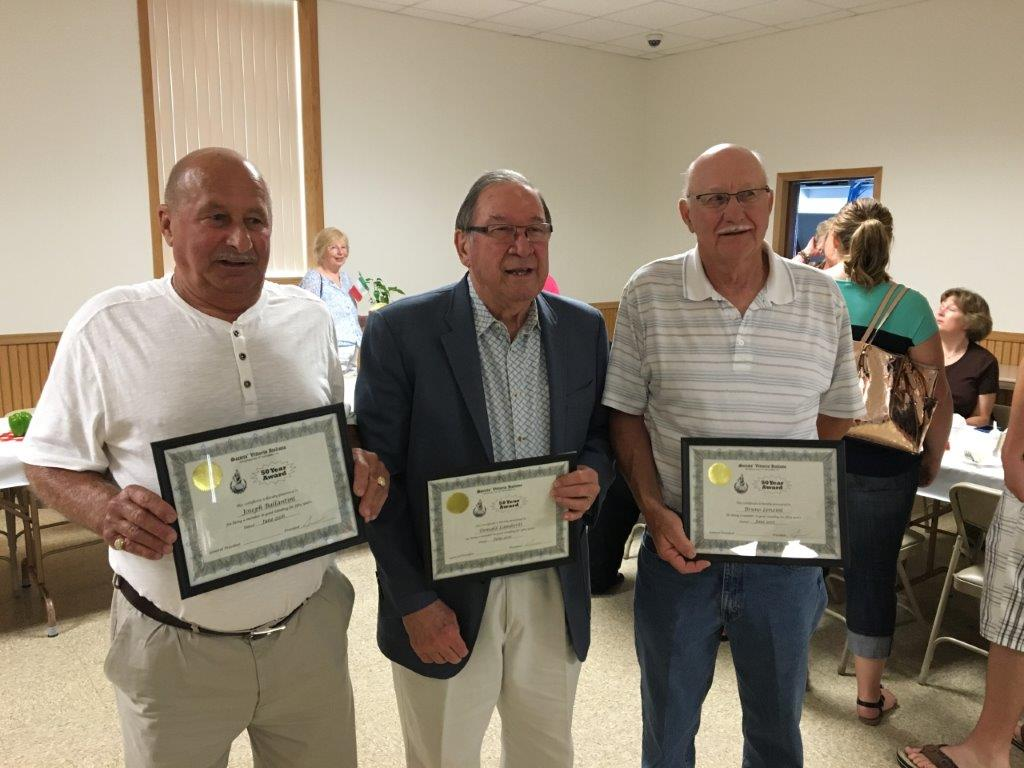 50-Year Vittoria Lodge Members: (L-R) Joseph Ballantini, Donald Lamberti,  Bruno Lenzini